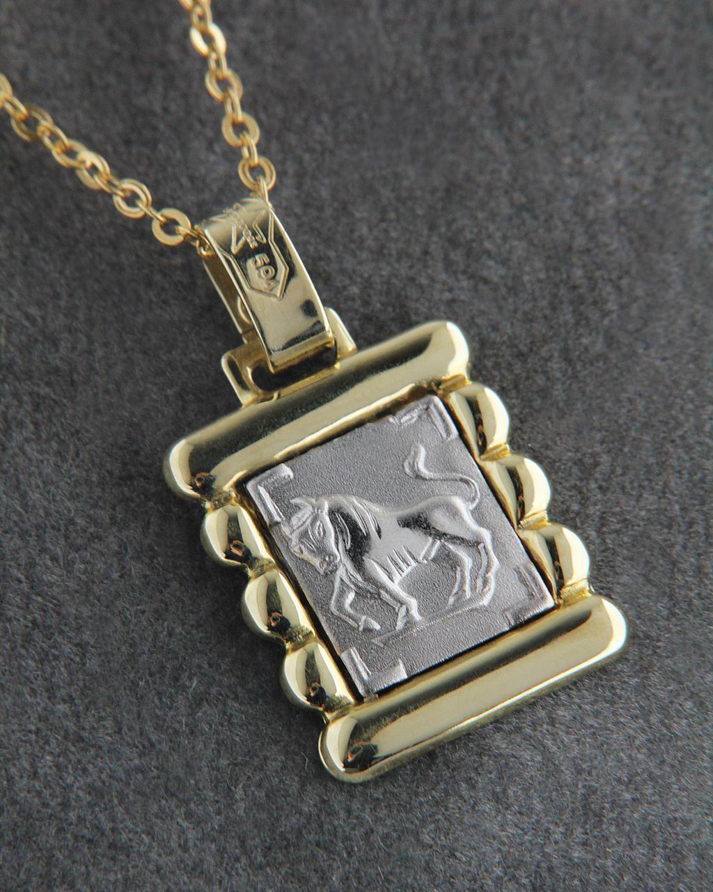 Κρεμαστό ζώδιο Ταύρος χρυσό & λευκόχρυσο Κ14   παιδι κρεμαστά κολιέ ζώδια