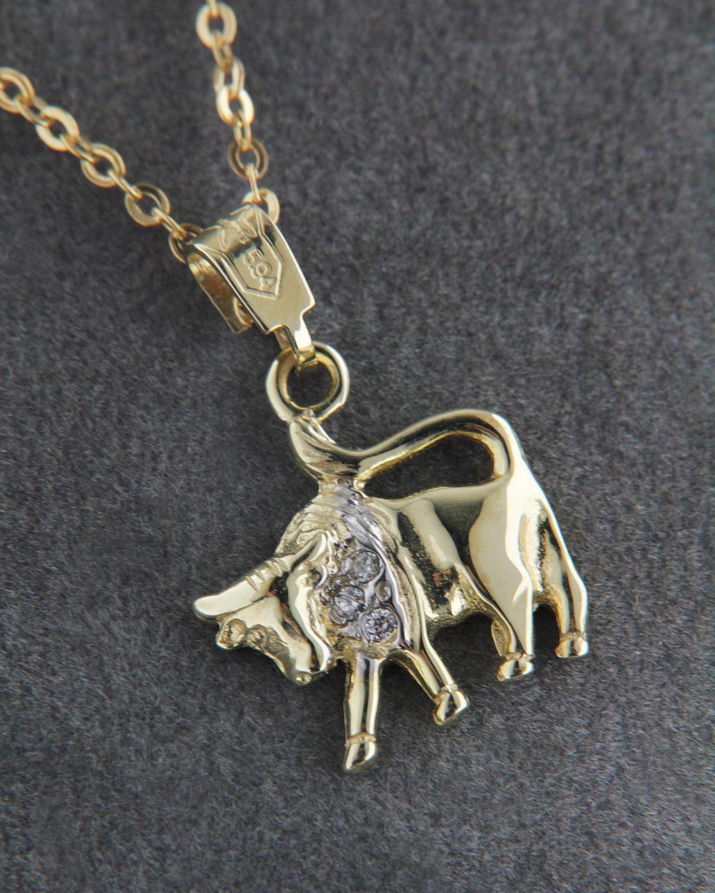 Ζώδιο χρυσό Κ14 Ταύρος με Ζιργκόν   κοσμηματα κρεμαστά κολιέ κρεμαστά κολιέ ζώδια