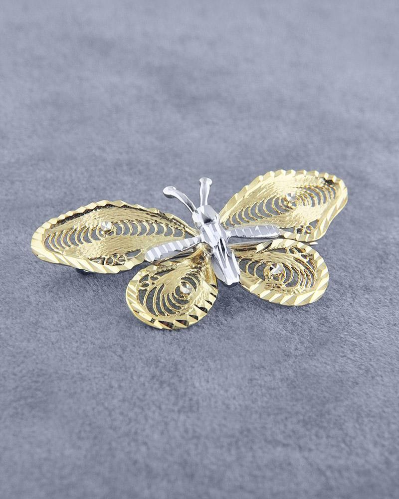 Καρφίτσα χρυσή & λευκόχρυση Κ14   γυναικα καρφίτσες