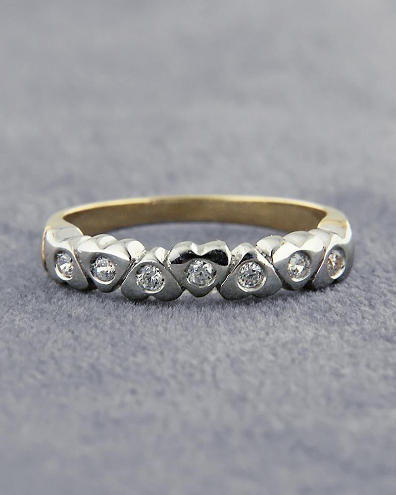 Δαχτυλίδι χρυσό & λευκόχρυσο Κ14 με Ζιργκόν   κοσμηματα δαχτυλίδια δαχτυλίδια σειρέ