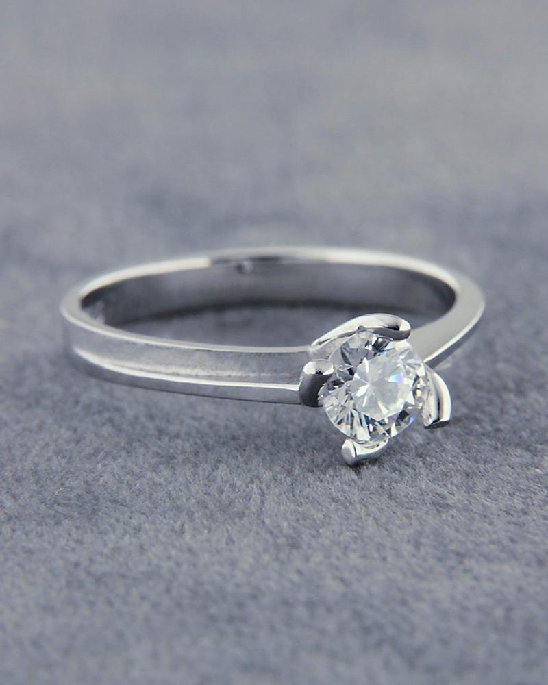 Δαχτυλίδι αρραβώνα λευκόχρυσο Κ14 με Ζιργκόν   γαμοσ μονόπετρα μονοπετρα με ζιργκόν