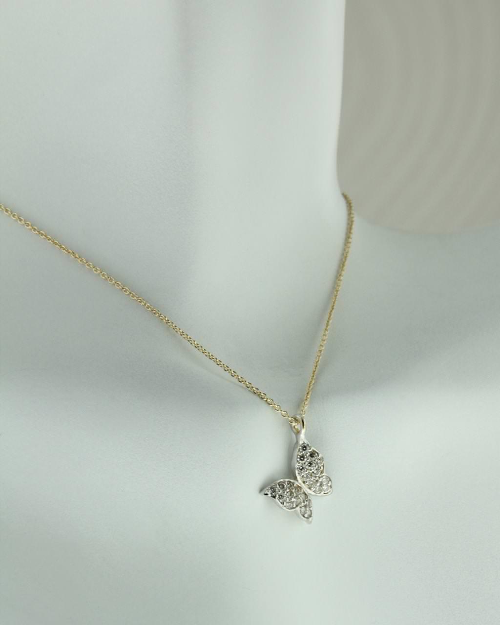 Κολιέ Κίτρινο Χρυσό Πεταλούδα Με Λευκά Ζιργκόν   κοσμηματα κρεμαστά κολιέ κρεμαστά κολιέ χρυσά