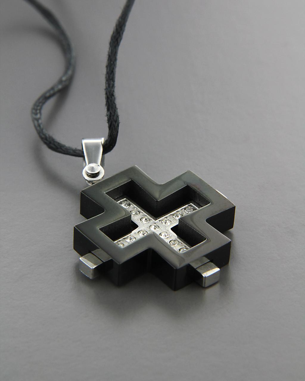 Ατσάλινος σταυρός με Ζιργκόν   ανδρασ σταυροί ανδρικοί