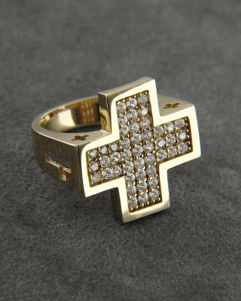 Δαχτυλίδι σεβαλιέ χρυσό Κ14 με Zιργκόν   κοσμηματα δαχτυλίδια δαχτυλίδια fashion