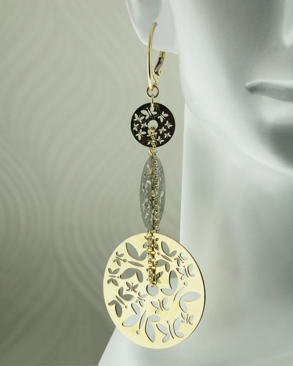 Σκουλαρίκια χρυσά & λευκόχρυσα Κ14   γυναικα σκουλαρίκια σκουλαρίκια χρυσά