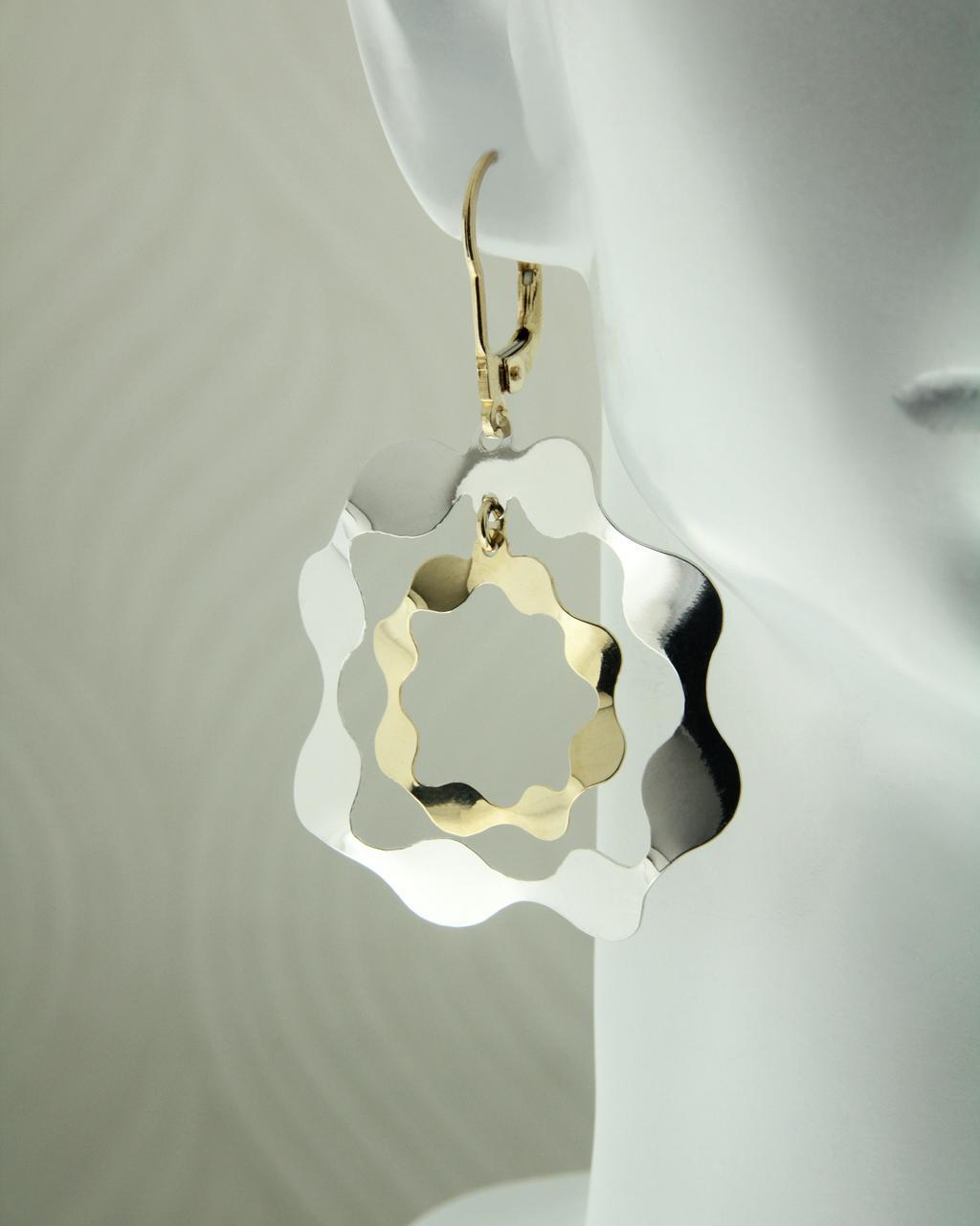 Σκουλαρίκια Κρίκοι σε χρυσό & λευκόχρυσο Κ14   γυναικα σκουλαρίκια σκουλαρίκια κρίκοι