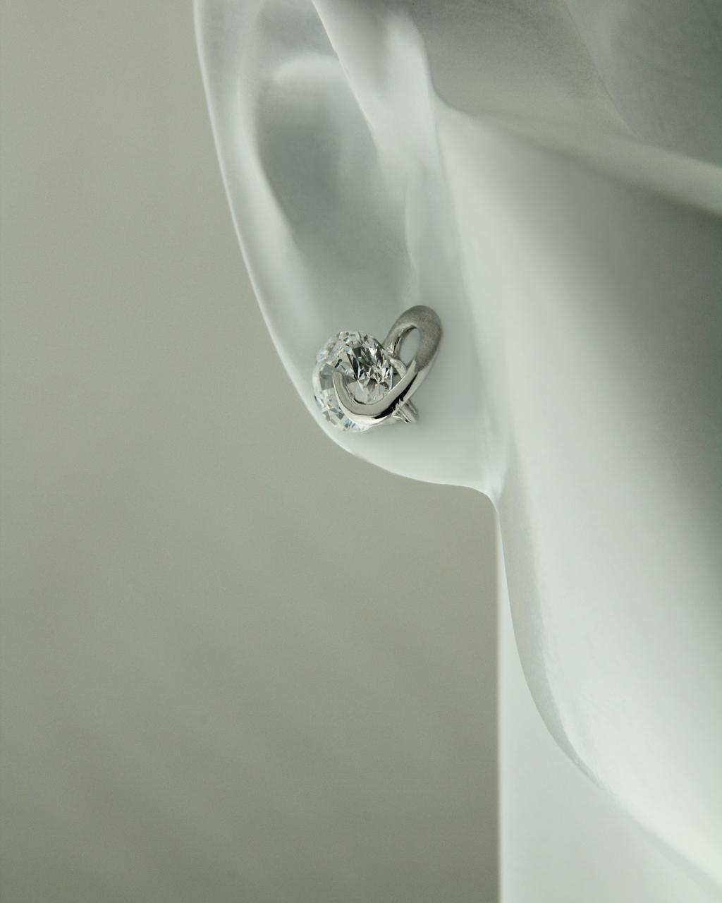 Σκουλαρίκια λευκόχρυσα Κ14 με ζιργκόν
