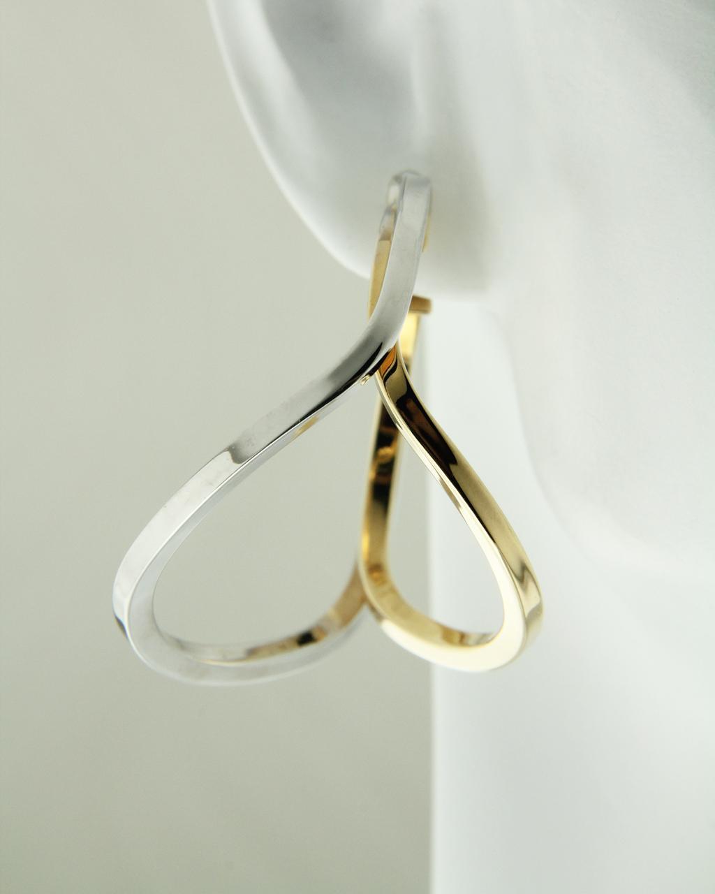 Σκουλαρίκια Κρίκοι σε Χρυσό & Λευκόχρυσα Κ18   γυναικα σκουλαρίκια σκουλαρίκια κρίκοι