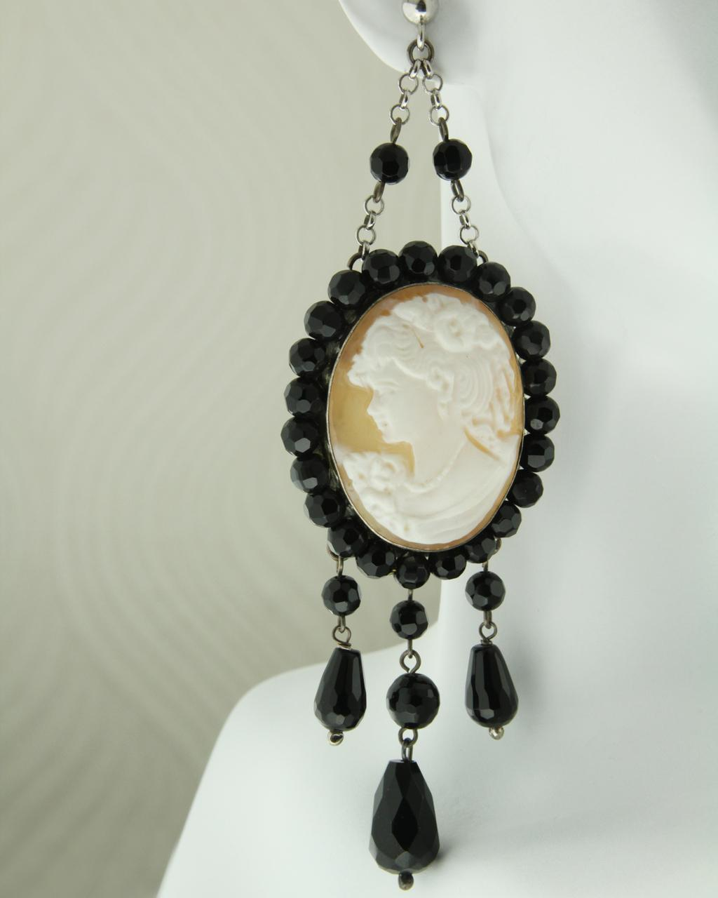 Σκουλαρίκια ασημένια 925 Καμέο με Όνυχα   γυναικα σκουλαρίκια σκουλαρίκια ημιπολύτιμοι λίθοι