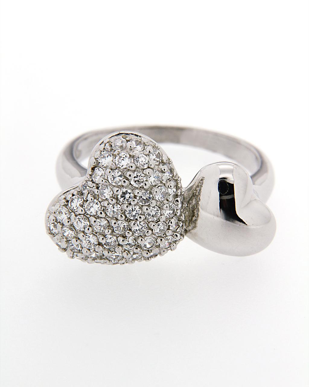 Δαχτυλίδι ασημένιο 925 με Ζιργκόν AD02059   γυναικα κοσμήματα με καρδιές