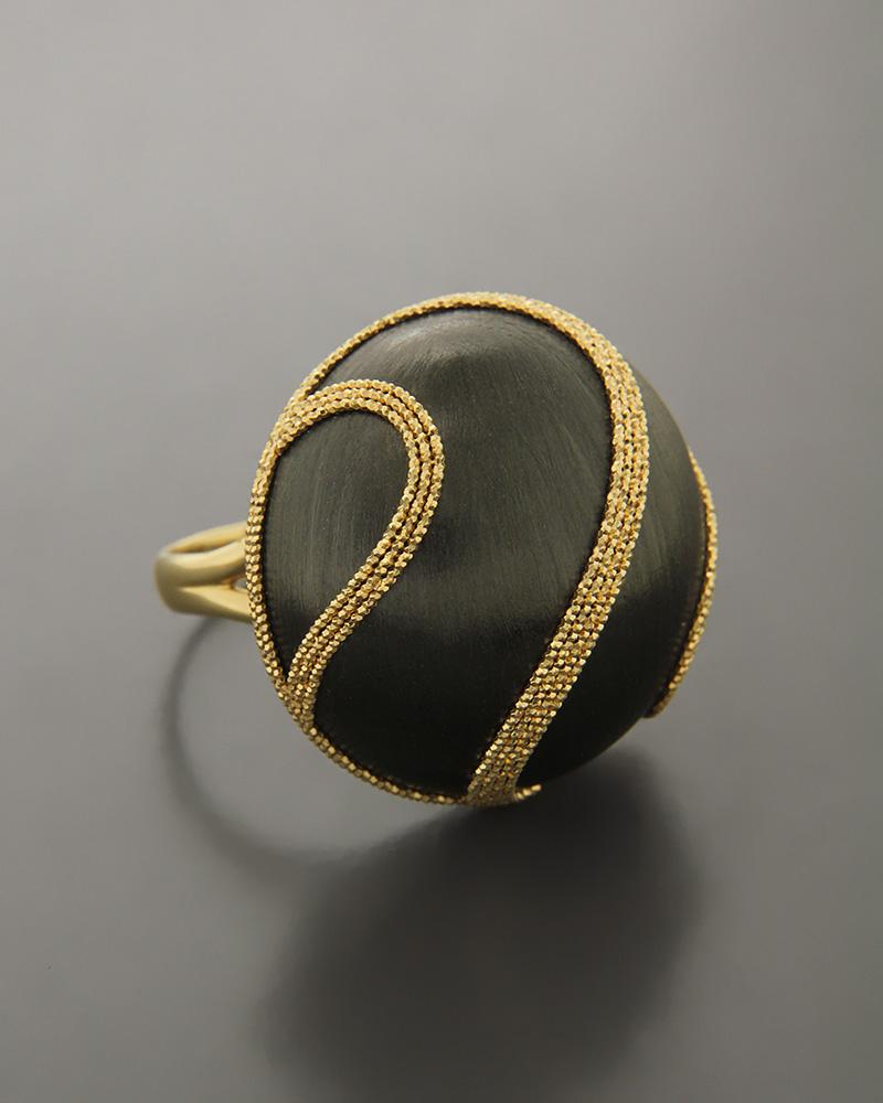 Δαχτυλίδι χρυσό Κ14 με πρόσθετη επιχρωμίωση από μαύρο πλατίνωμα   γυναικα δαχτυλίδια δαχτυλίδια χρυσά