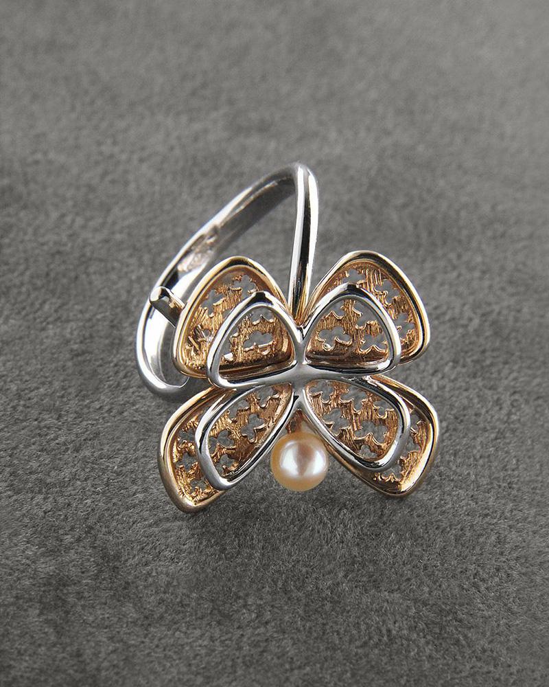 Δαχτυλίδι ροζ χρυσό & λευκόχρυσο Κ14 με Μαργαριτάρι   γυναικα δαχτυλίδια δαχτυλίδια ροζ χρυσό