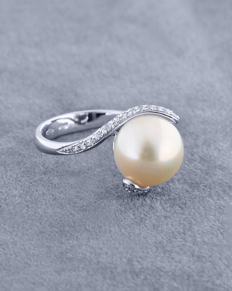 Δαχτυλίδι λευκόχρυσο Κ18 με Mαργαριτάρι & Zιργκόν   γαμοσ μονόπετρα μονοπετρα με ζιργκόν