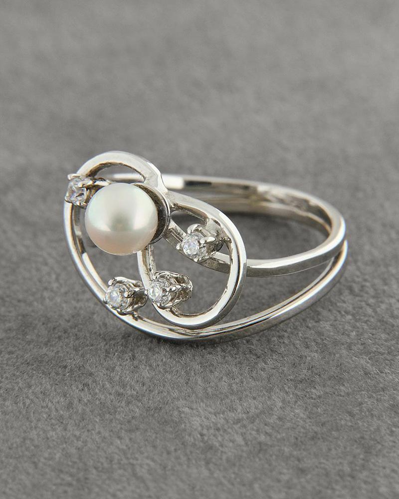 Δαχτυλίδι λευκόχρυσο 18Κ με Μαργαριτάρι & Ζιργκόν   γυναικα δαχτυλίδια δαχτυλίδια με μαργαριτάρια