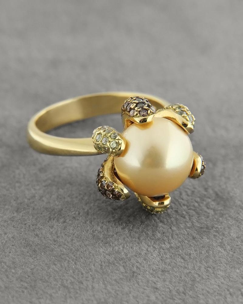 Δαχτυλίδι χρυσό Κ18 με Μαργαριτάρι & Ζιργκόν   γυναικα δαχτυλίδια δαχτυλίδια με μαργαριτάρια