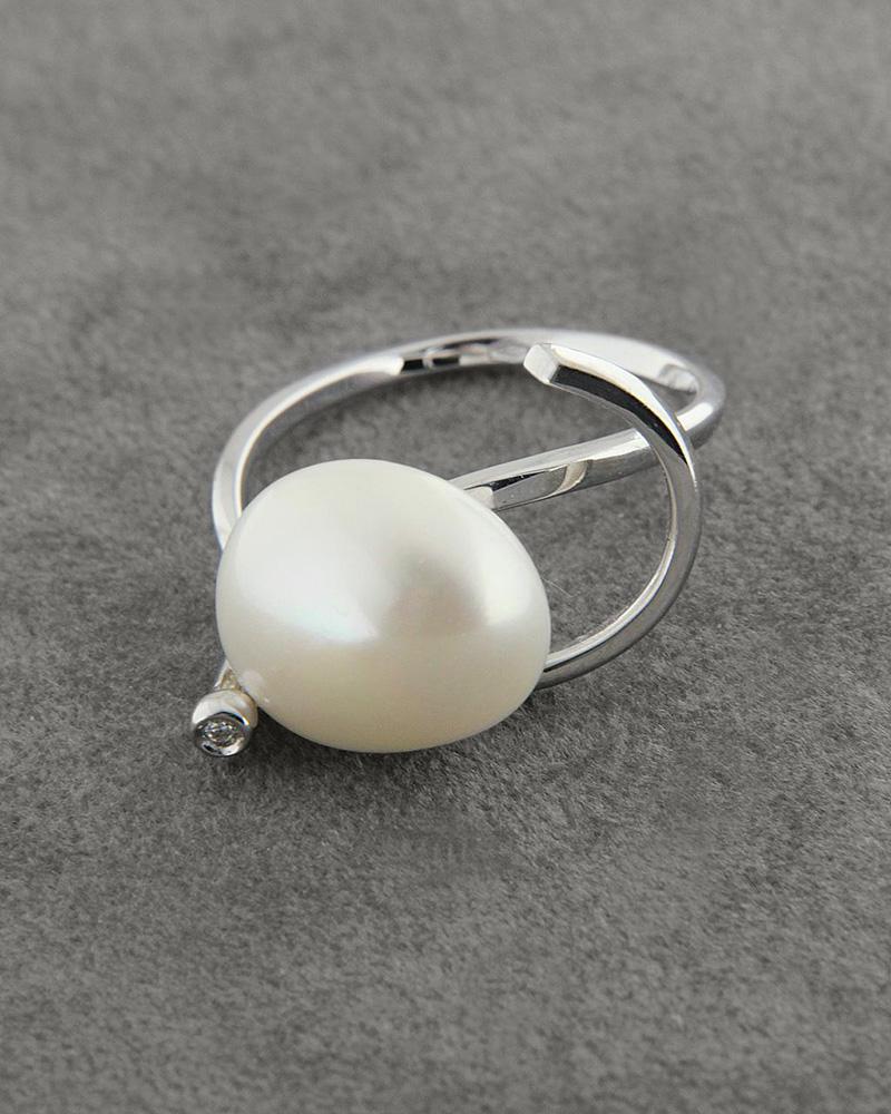 Δαχτυλίδι λευκόχρυσο Κ18 με Μαργαριτάρι & Ζιργκόν   γυναικα δαχτυλίδια δαχτυλίδια με μαργαριτάρια