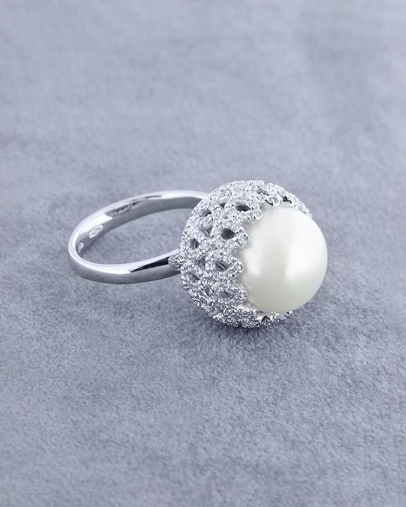 Δαχτυλίδι λευκόχρυσο Κ18 με Μαργαριτάρι & Ζιργκόν   γαμοσ μονόπετρα μονοπετρα με ζιργκόν
