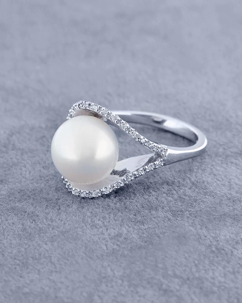 Δαχτυλίδι 18Κ λευκόχρυσο με Μαργαριτάρι & Ζιργκόν   γαμοσ μονόπετρα μονοπετρα με ζιργκόν