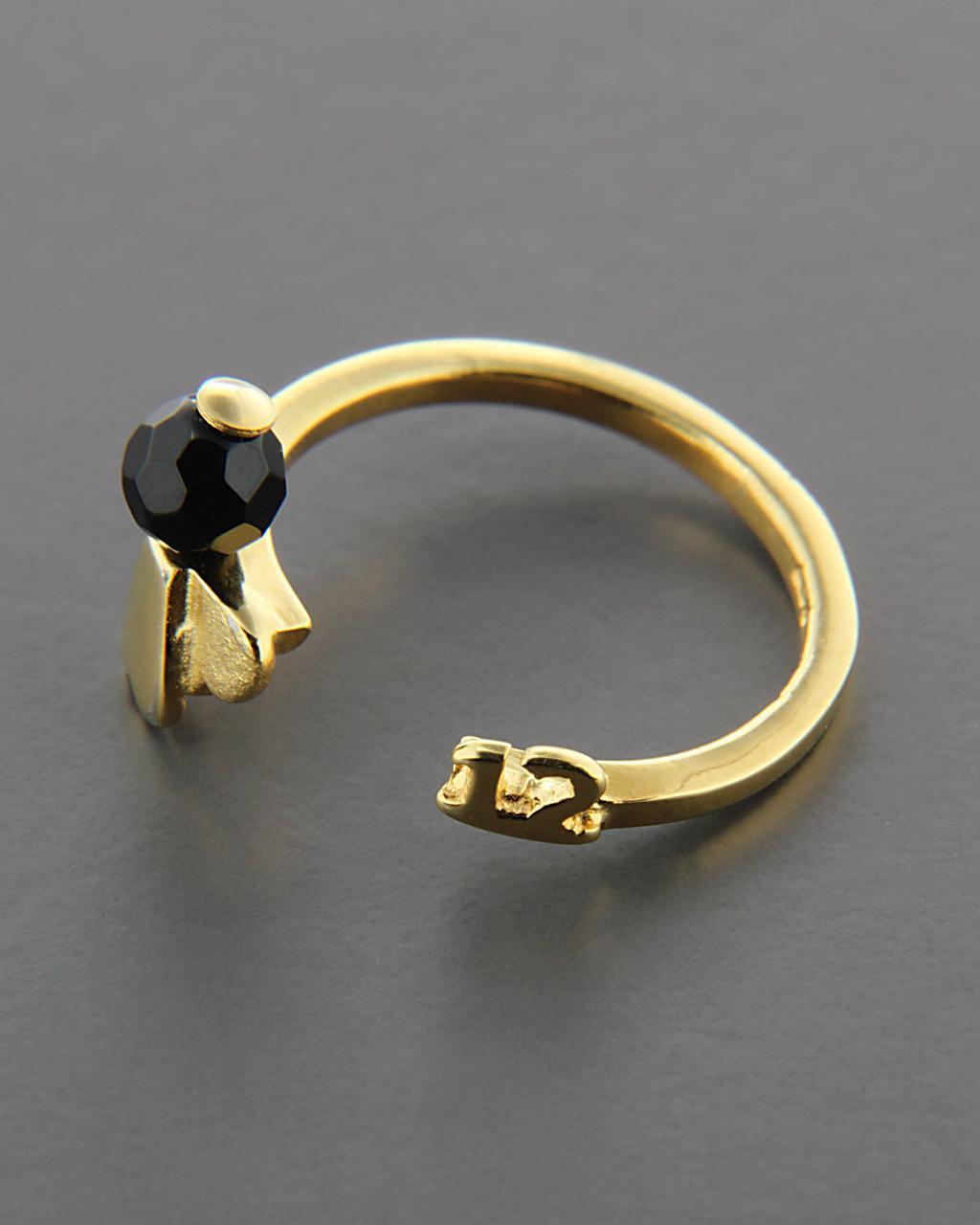 Επίχρυσο ασημένιο-γούρι δαχτυλίδι 925 με Όνυχα   δωρα γούρια