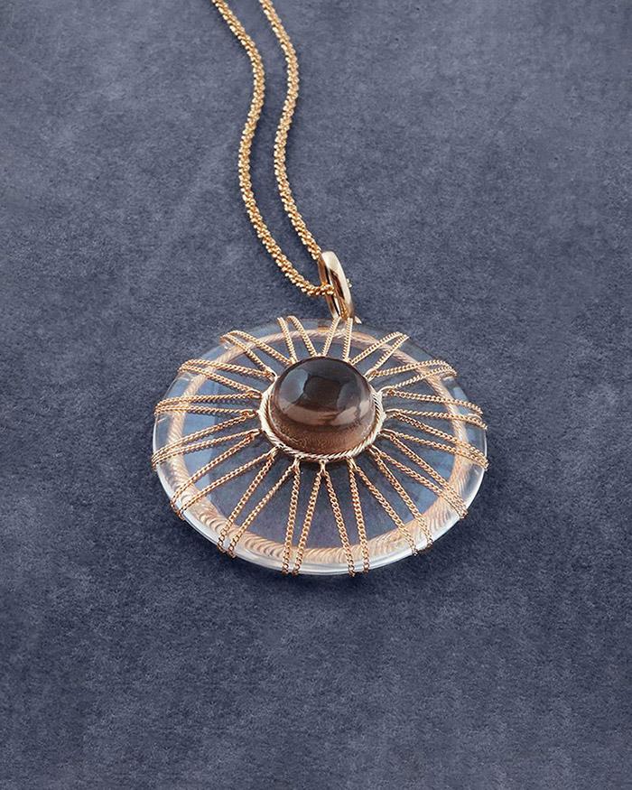 Κρεμαστό χρυσό Κ14 με Κρύσταλλο & Τοπάζι   γαμοσ δώρα κουμπάρου κουμπαρα