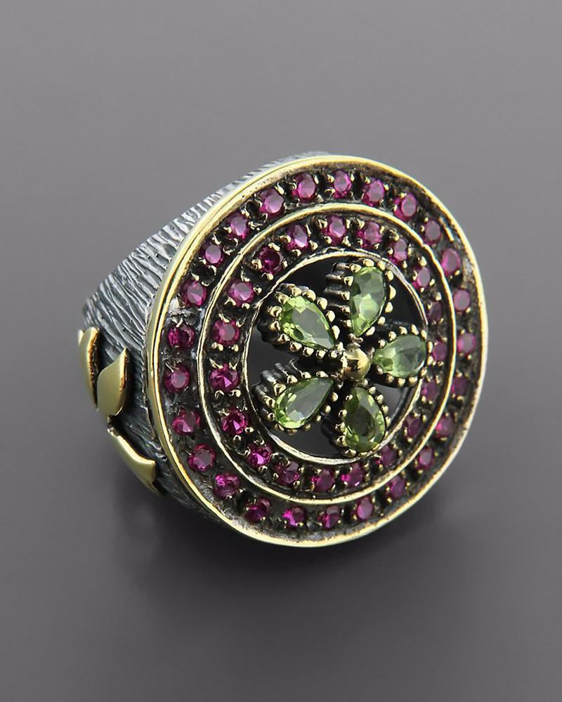 Δαχτυλίδι ασημένιο 925 με Τοπάζι & Ζιργκόν