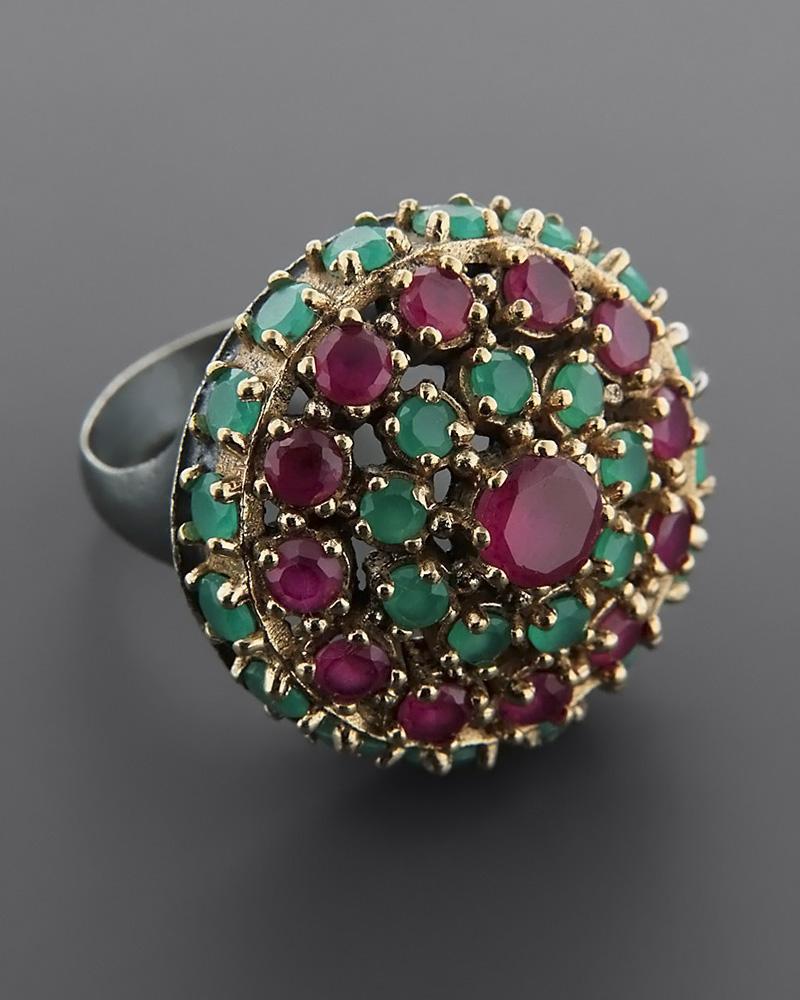 Δαχτυλίδι ασημένιο 925 με Γρανάδα & Ζαντ   γυναικα δαχτυλίδια δαχτυλίδια ημιπολύτιμοι λίθοι