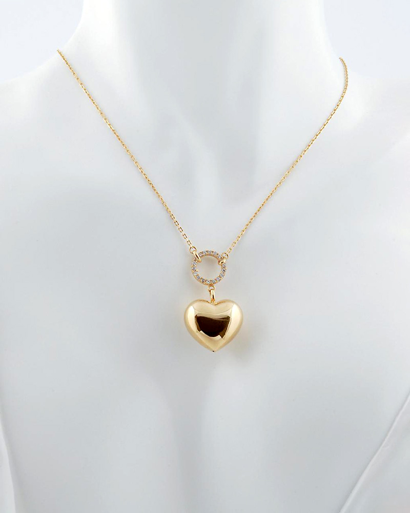 Κολιέ με καρδιά χρυσό Κ14 με Ζιργκόν   γυναικα κρεμαστά κολιέ κρεμαστά κολιέ καρδιές