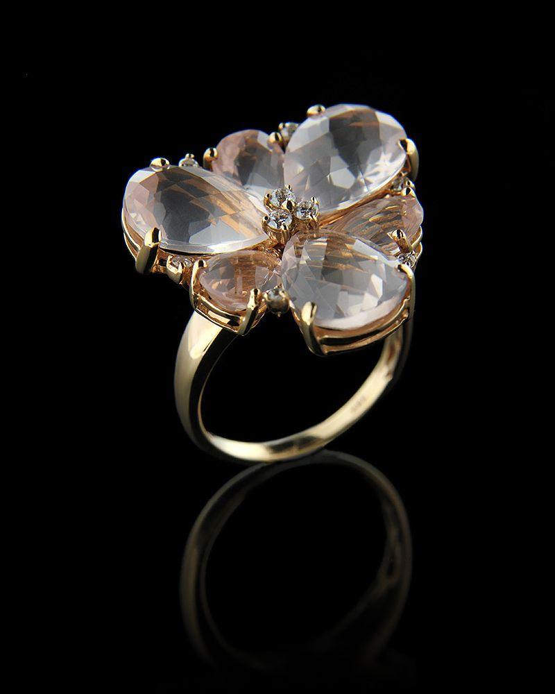 Δαχτυλίδι χρυσό Κ18 με Διαμάντια & Quartz   γυναικα δαχτυλίδια δαχτυλίδια χρυσά