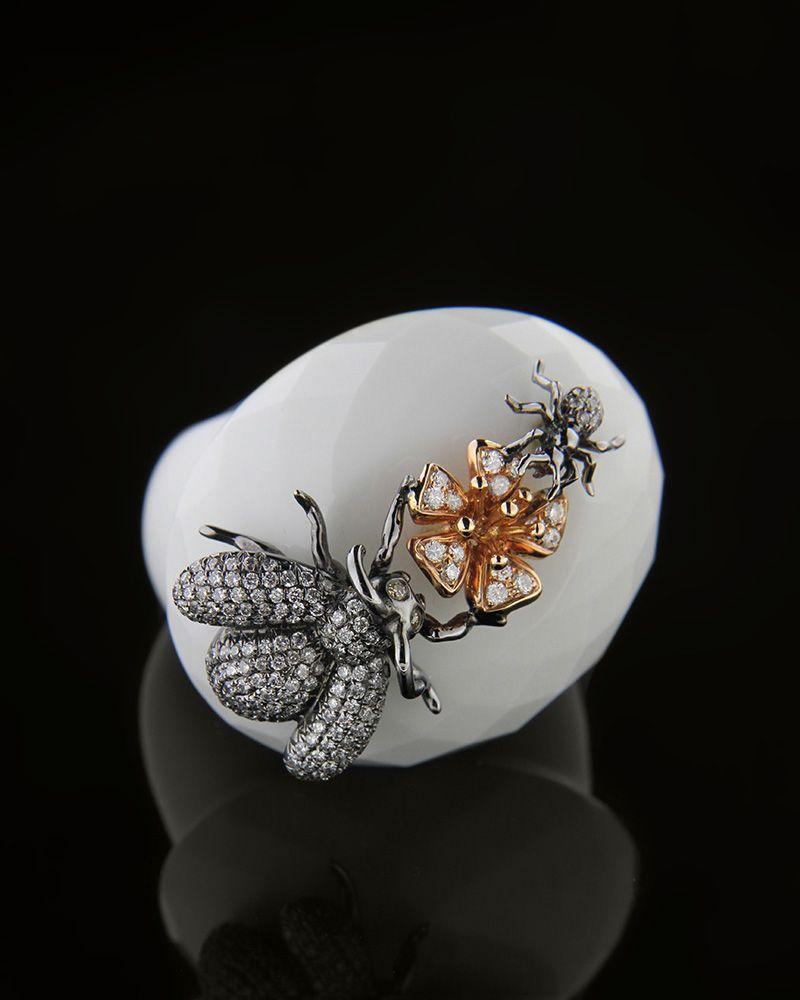 Δαχτυλίδι ροζ χρυσό & λευκόχρυσο Κ18 με Διαμάντια & Όνυχα   γυναικα δαχτυλίδια δαχτυλίδια λευκόχρυσα
