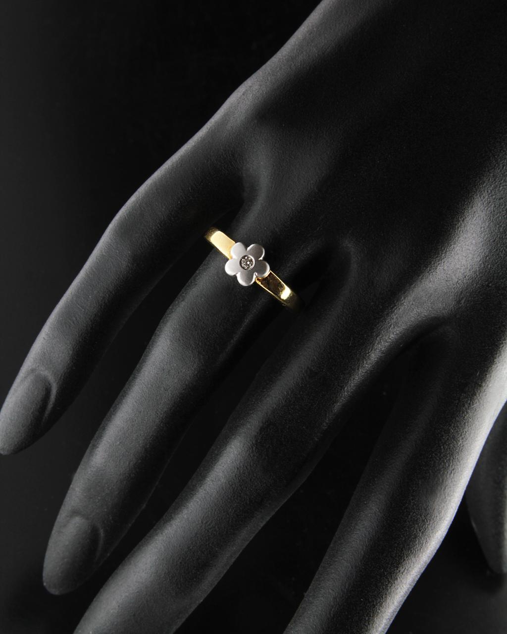 Δαχτυλίδι χρυσό & λευκόχρυσο Κ18 με Διαμάντι   γυναικα δαχτυλίδια μονόπετρα με διαμάντια