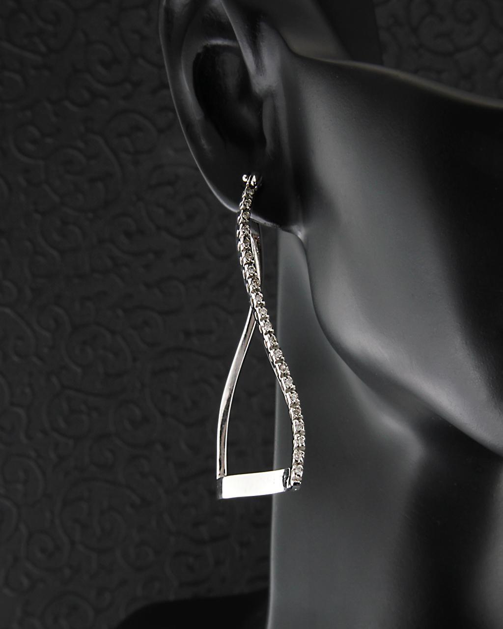Σκουλαρίκια λευκόχρυσα Κ18 με Διαμάντια