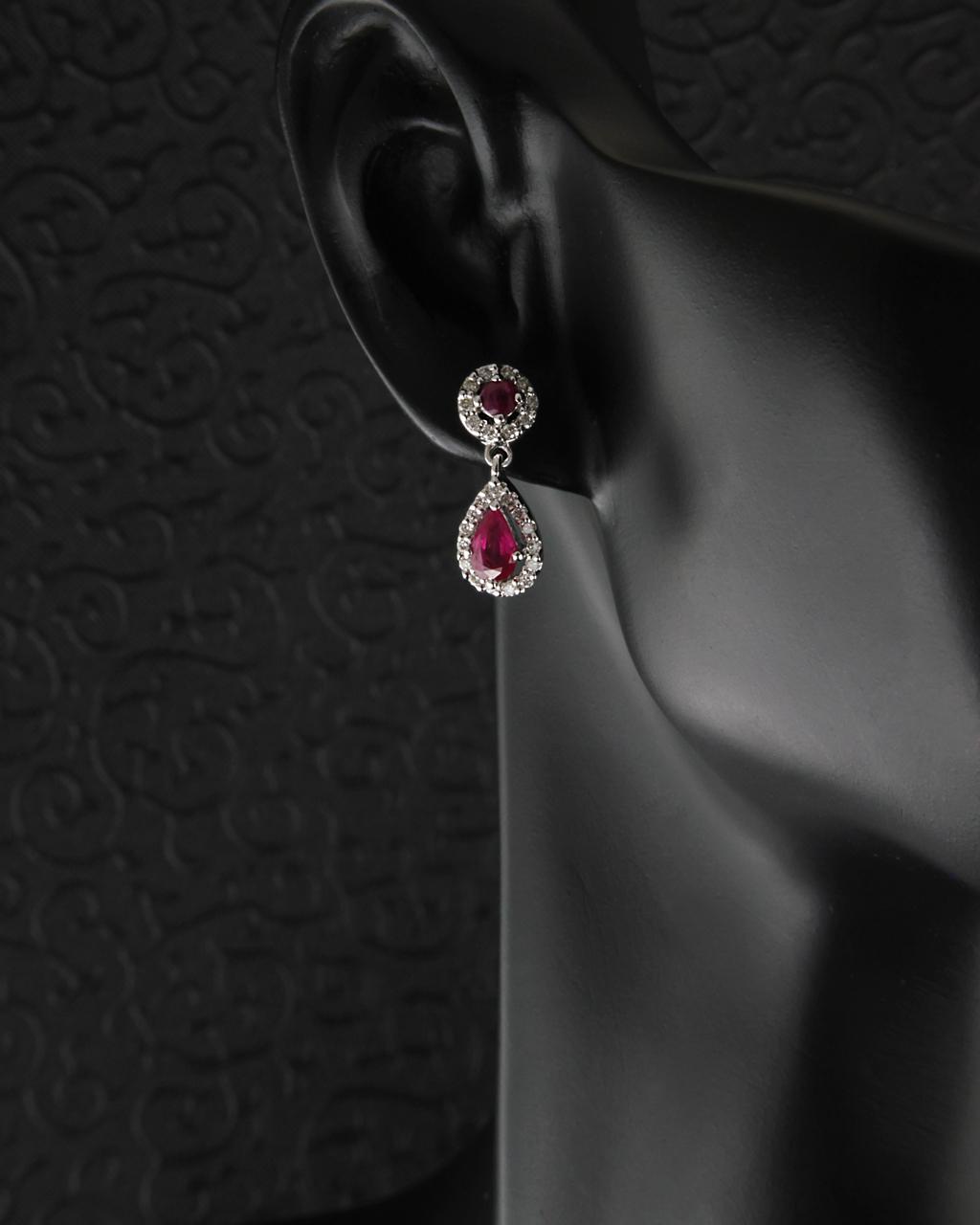 Σκουλαρίκια από λευκόχρυσο Κ18 με Ρουμπίνια & Διαμάντια   γυναικα σκουλαρίκια σκουλαρίκια με διαμάντια