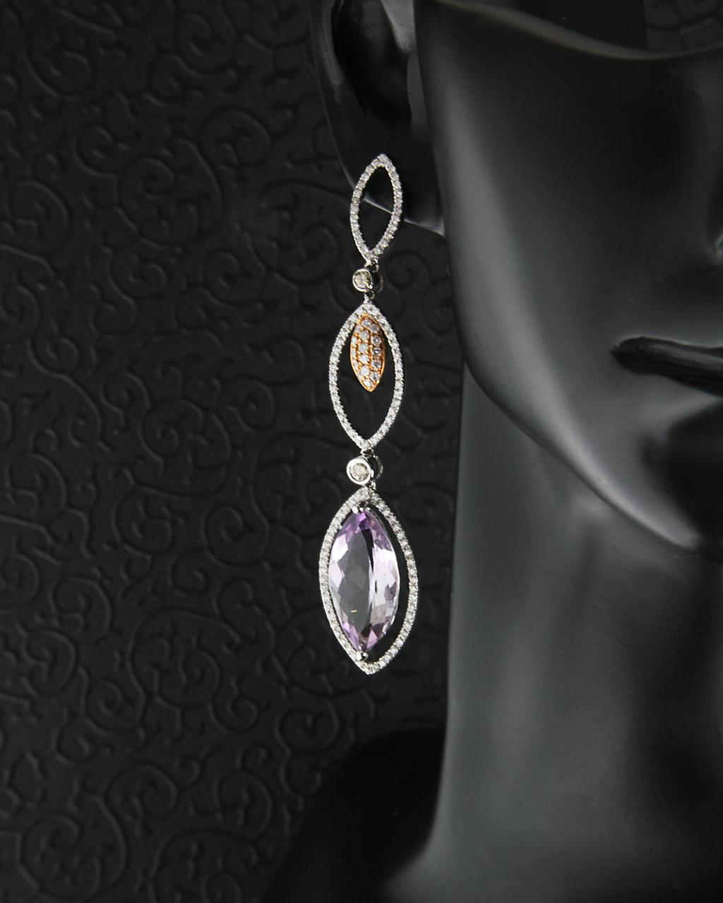 Σκουλαρίκια από λευκόχρυσο Κ18 με Διαμάντια & Αμέθυστο   γυναικα σκουλαρίκια σκουλαρίκια λευκόχρυσα