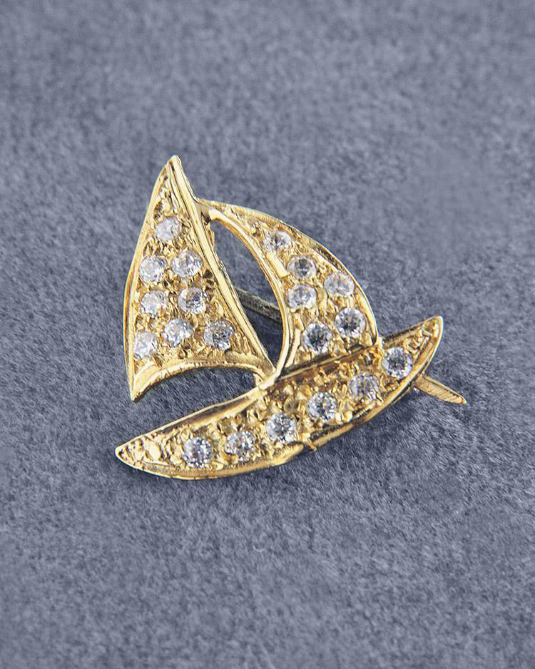 Καρφίτσα χρυσή Κ14 με Ζιργκόν   γυναικα καρφίτσες