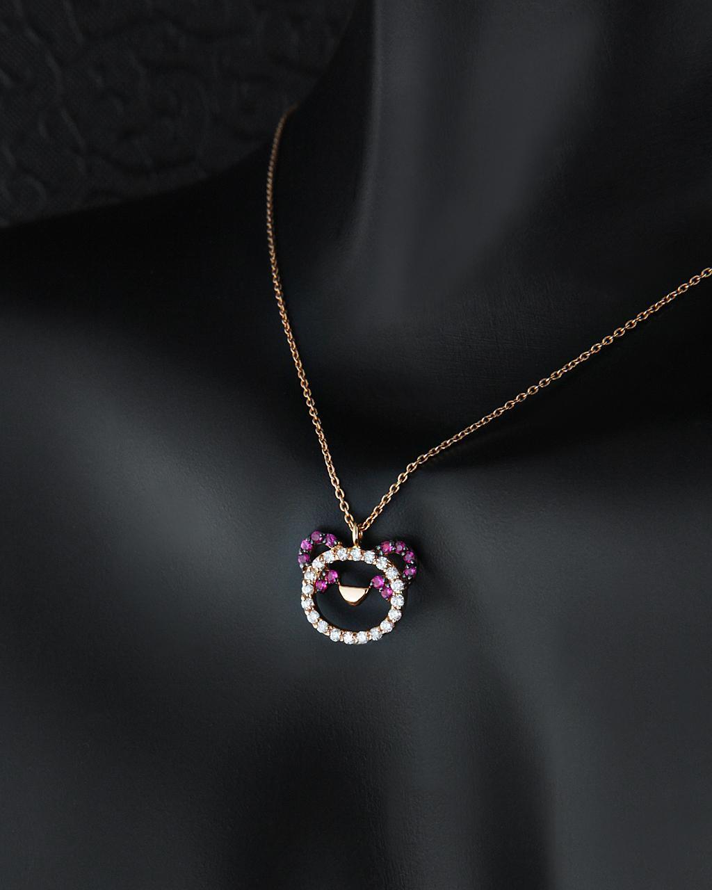 Κολιέ ροζ χρυσό Κ18 με Διαμάντια και Ρουμπίνια   γυναικα κρεμαστά κολιέ κρεμαστά κολιέ ροζ χρυσό