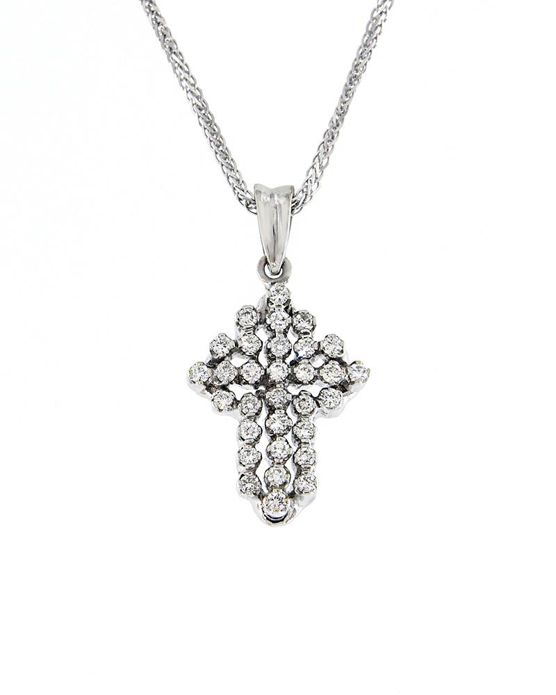 Σταυρός από λευκόχρυσο Κ18 με Διαμάντια   παιδι βαπτιστικοί σταυροί βαπτιστικοί σταυροί για κορίτσι