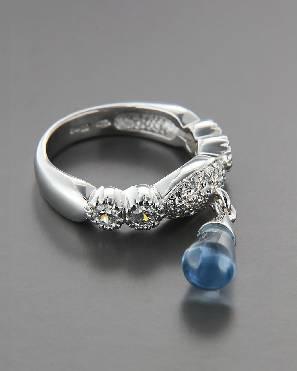 Δαχτυλίδι ασημένιο 925 με Ορυκτή πέτρα & Ζιργκόν   γυναικα δαχτυλίδια δαχτυλίδια ασημένια