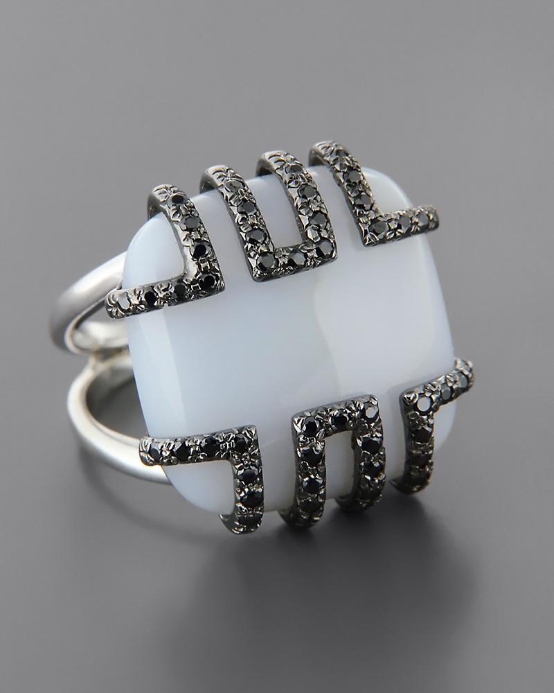 Δαχτυλίδι λευκόχρυσο Κ18 με Όνυχα και Ζιργκόν   γυναικα δαχτυλίδια δαχτυλίδια ημιπολύτιμοι λίθοι