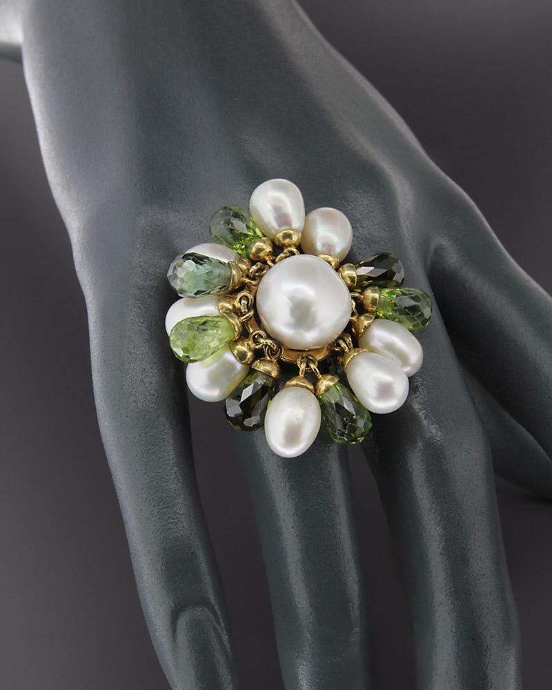 Δαχτυλίδι χρυσό Κ18 με Μαργαριτάρια και Περιδοτίτη   γυναικα δαχτυλίδια δαχτυλίδια χρυσά