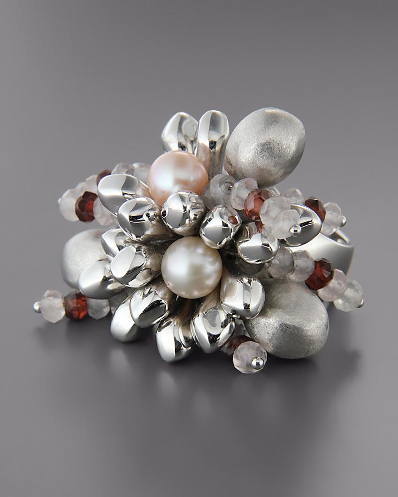 Δαχτυλίδι 18Κ λευκόχρυσο με Μαργαριτάρια, Γρανάδα και Quartz   γυναικα δαχτυλίδια δαχτυλίδια ημιπολύτιμοι λίθοι