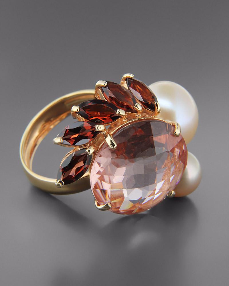 Δαχτυλίδι ροζ χρυσό Κ18 με Τουρμαλίνες και Μαργαριτάρια   κοσμηματα δαχτυλίδια δαχτυλίδια μαργαριτάρια