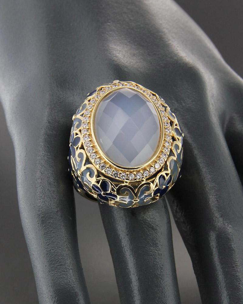 Δαχτυλίδι χρυσό Κ14 με Ορυκτή πέτρα, Σμάλτο & Ζιργκόν   γυναικα δαχτυλίδια δαχτυλίδια χρυσά