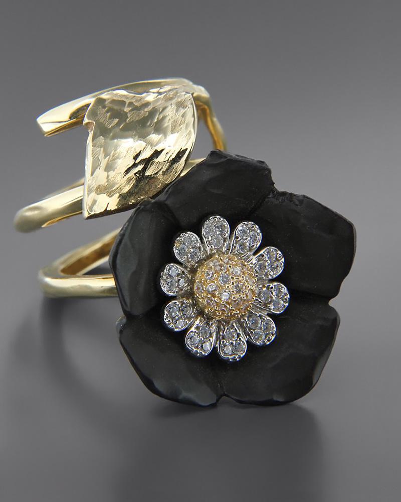 Χειροποίητο δαχτυλίδι χρυσό Κ14 με πυλό και Ζιργκόν   γυναικα δαχτυλίδια δαχτυλίδια χρυσά