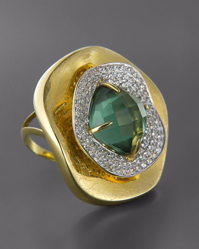 Δαχτυλίδι χρυσό & λευκόχρυσο Κ14 με Ορυκτή πέτρα & Ζιργκόν   γυναικα δαχτυλίδια δαχτυλίδια ημιπολύτιμοι λίθοι