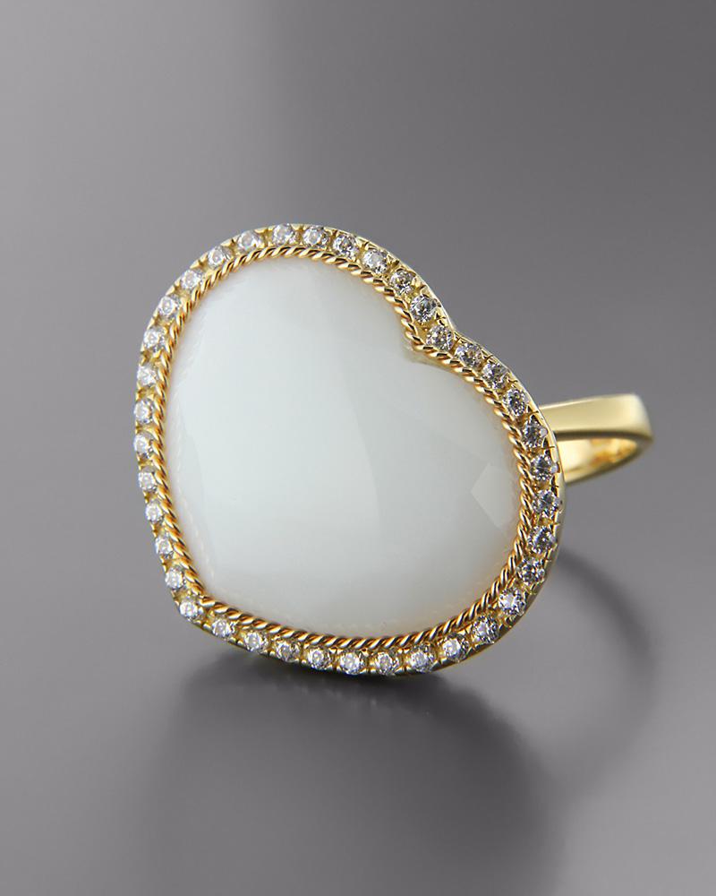 Δαχτυλίδι Κ18 χρυσό με Όνυχα και Ζιργκόν   γυναικα δαχτυλίδια δαχτυλίδια ημιπολύτιμοι λίθοι