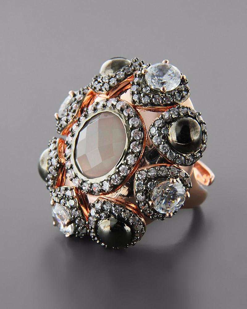 Δαχτυλίδι από Ορείχαλκο με Quartz & Ζιργκόν   γυναικα δαχτυλίδια δαχτυλίδια ημιπολύτιμοι λίθοι