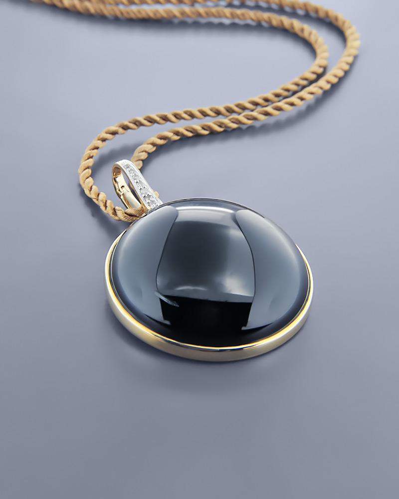 Κρεμαστό χρυσό Κ14 με Όνυχα & Ζιργκόν   ζησε το μυθο δώρα κουμπάρου κουμπαρα