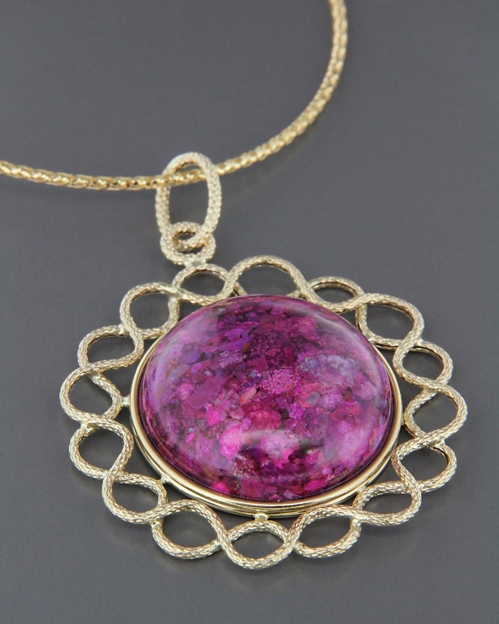 Κρεμαστό χρυσό Κ14 με Coral Stone   γαμοσ δώρα κουμπάρου κουμπαρα