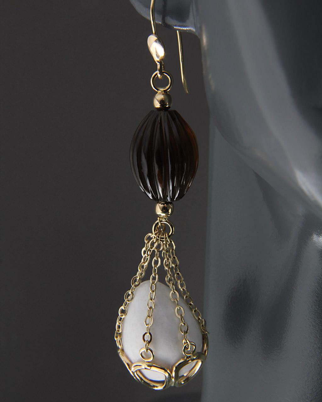Σκουλαρίκια χρυσά Κ14 με Quartz & Αχάτη   γυναικα σκουλαρίκια σκουλαρίκια ημιπολύτιμοι λίθοι