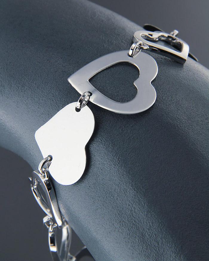 Βραχιόλι λευκόχρυσο Κ18   γυναικα κοσμήματα με καρδιές